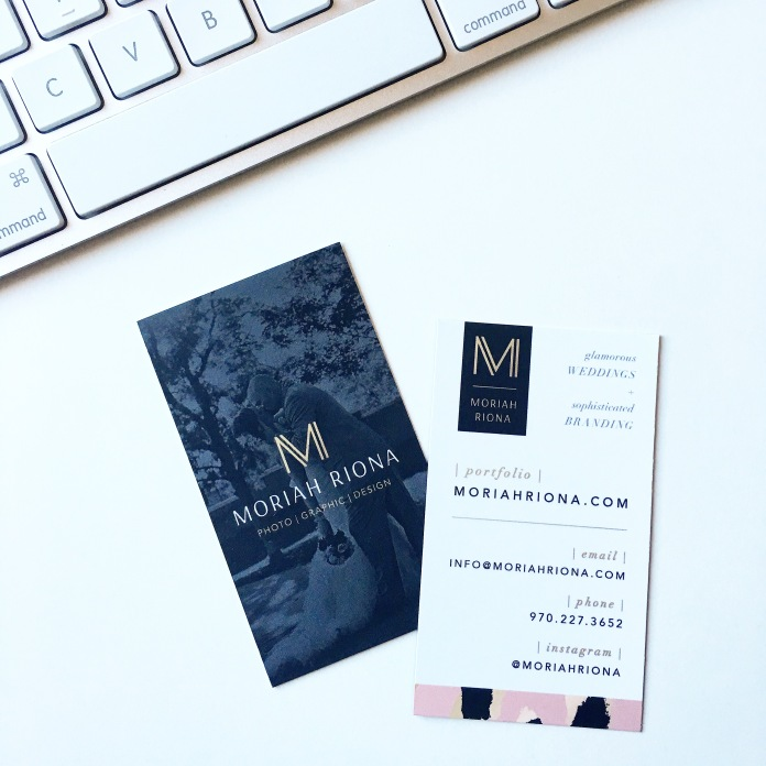 Photographer Business Cards by Moriah Riona | Sophisticated Branding for Creative Entrepreneurs