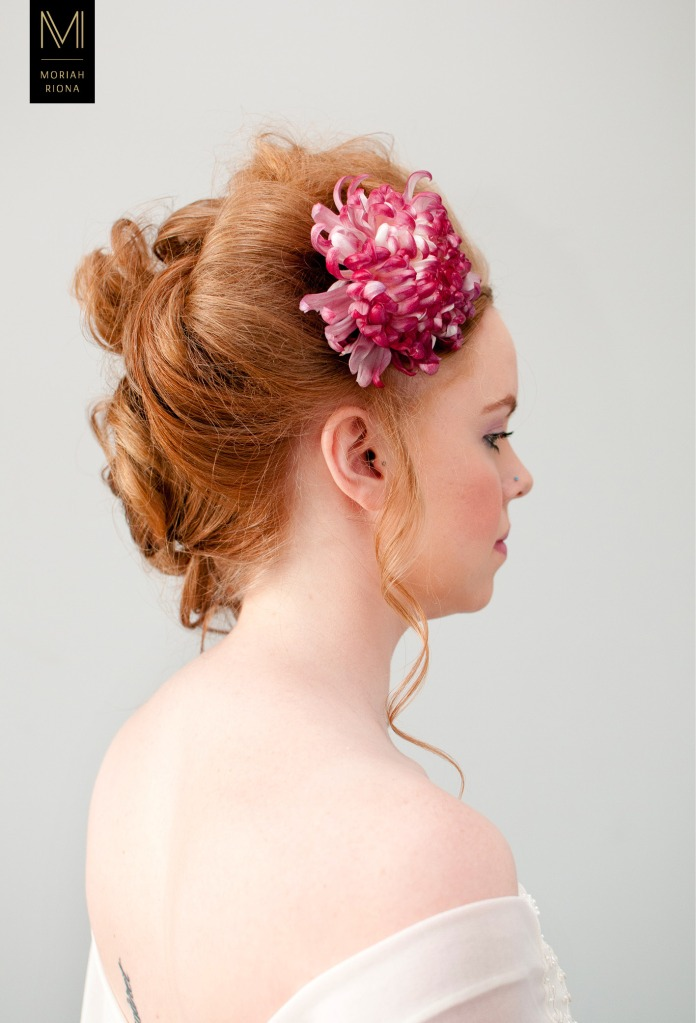 Bridal Beauty Editorial | Brides in Bloom | Floral Inspired Wedding Hairstyles & Floral Crowns | single marsala flower