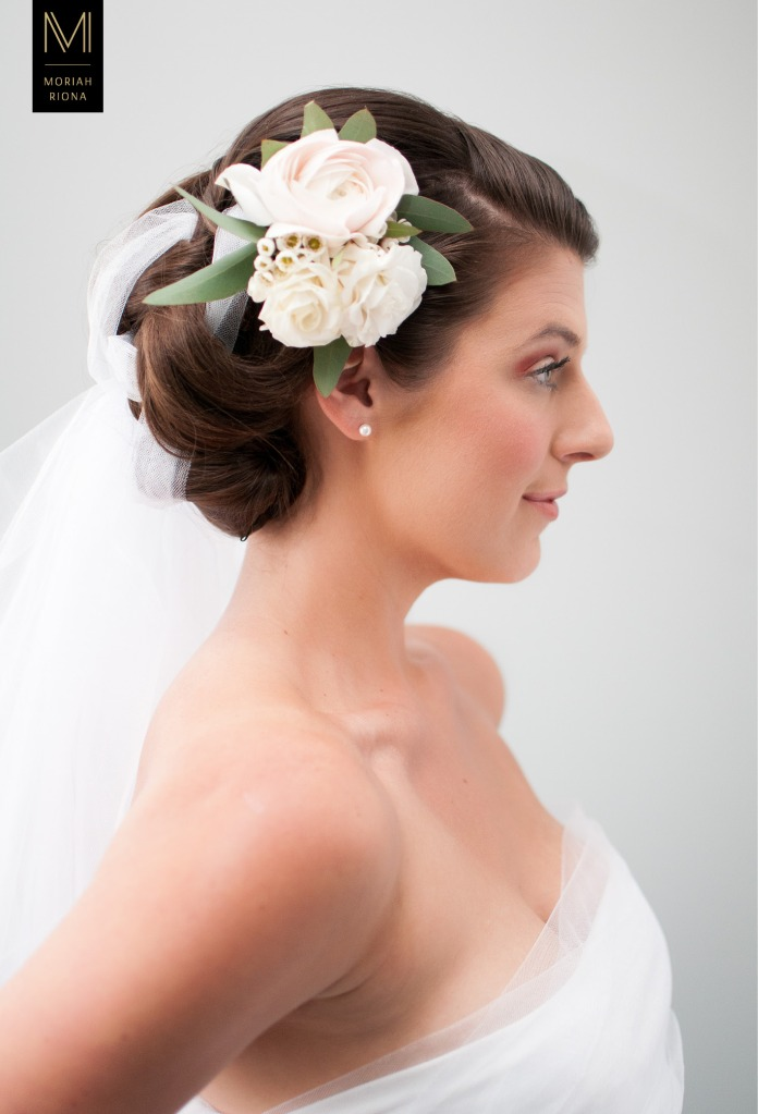 Bridal Beauty Editorial | Brides in Bloom | Floral Inspired Wedding Hairstyles & Floral Crowns | white florals with veil