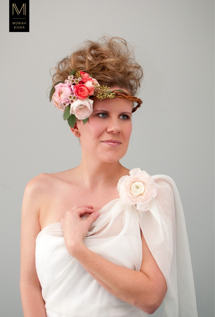 Bridal Beauty Editorial | Brides in Bloom | Floral Inspired Wedding Hairstyles & Floral Crowns | pink and coral flowers