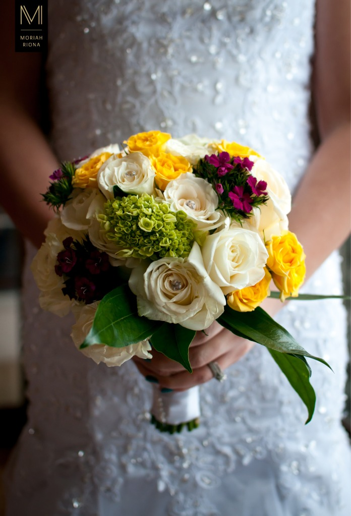 Glamorous white, yellow and magenta wedding bouquet | photography by Denver wedding photographer, Moriah Riona