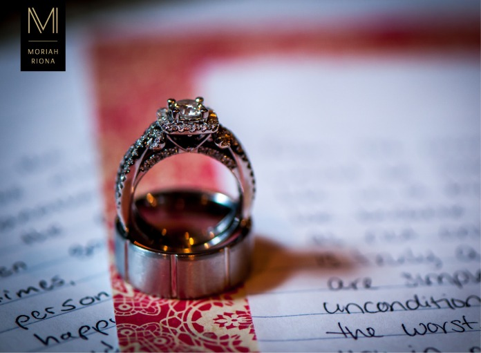 Diamond wedding rings | His & Hers | Over handwritten wedding vows | © Moriah Riona, 2016
