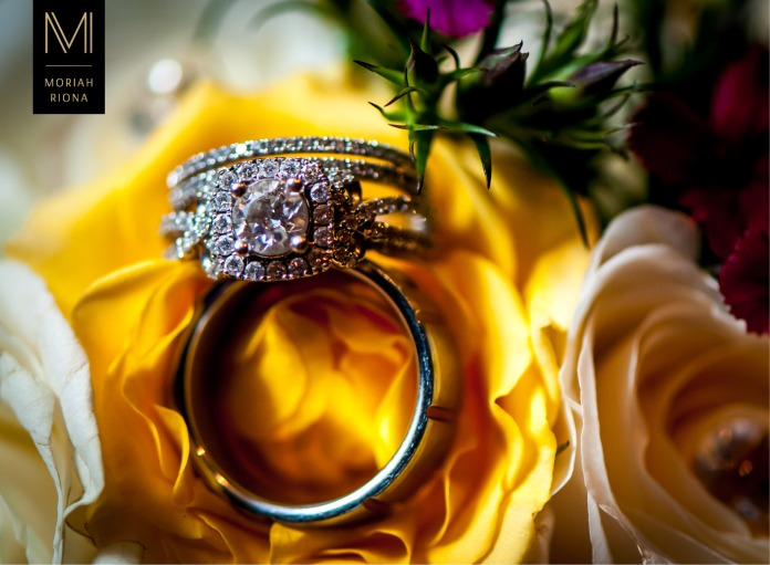 Macro image of wedding rings on bouquet | Colorado Springs photographer, Moriah Riona