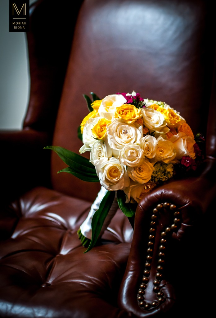 Yellow, white and magenta bridal bouquet | photography by Moriah Riona